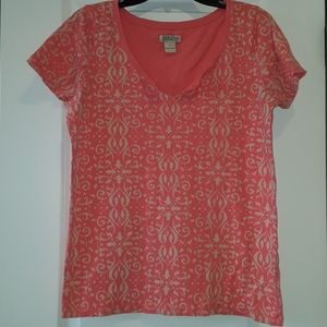 Women's Lucky Brand Coral/Cream Large Shirt